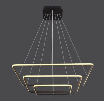 Czarna lampa wisząca Shape - LED, kwadraty, 3000K
