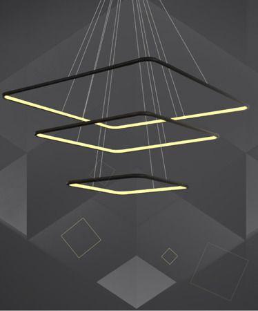 lampa wisząca led czarne kwadraty