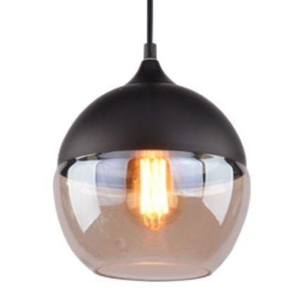 lampa wisząca czarna kula ze szklanym kloszem