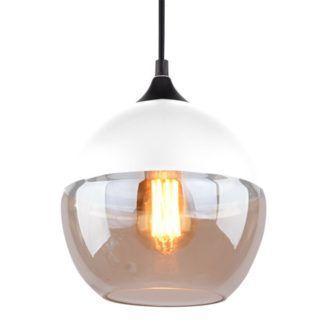 Nowoczesna lampa wisząca Manhattan - bursztynowe szkło