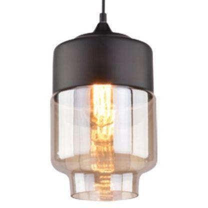 lampa wisząca czarna ze szklanym kloszem