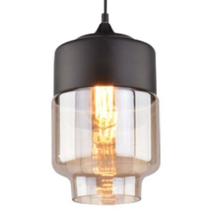 podłużna lampa wisząca z bursztynowym szkłem