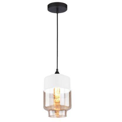 szklana lampa wisząca z białą oprawką