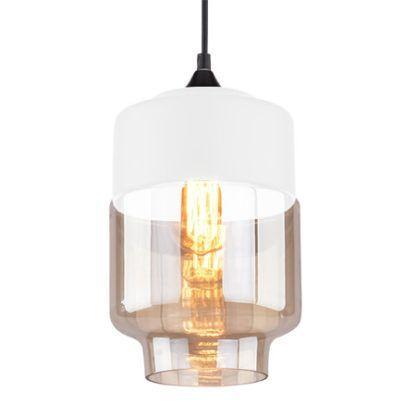 szklana lampa wisząca z bursztynowym kloszem