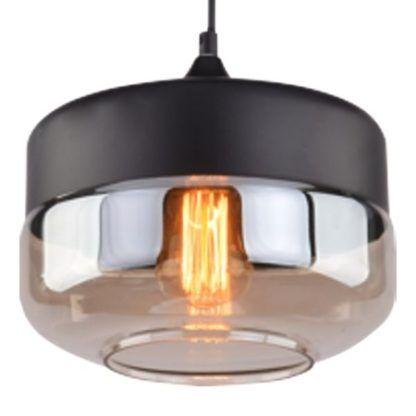 czarna lampa wisząca z bursztynowym kloszem