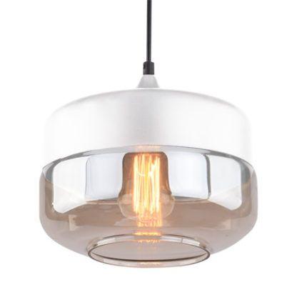 srebrna lampa wisząca z bursztynowym kloszem
