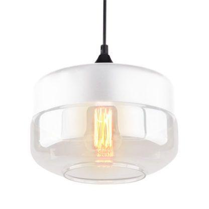 biała lampa wisząca ze szklanym kloszem