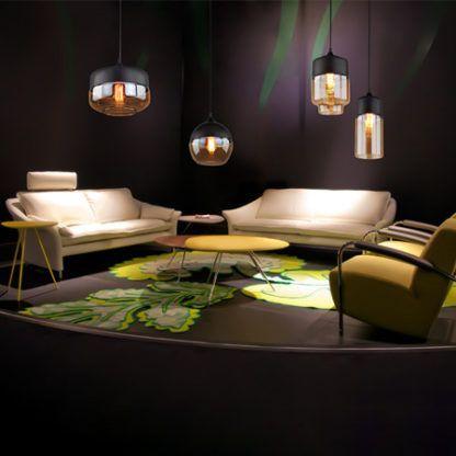 szklane lampy wiszące do salonu aranżacja