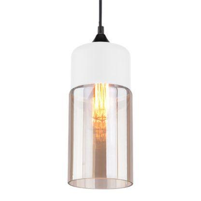 bursztynowa lampa wisząca biała baza