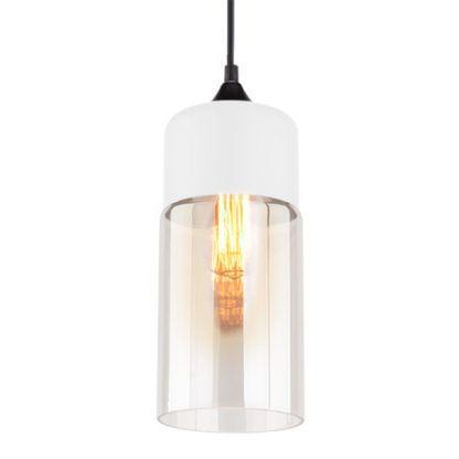 Podłużna lampa wisząca Manhattan - szklany klosz