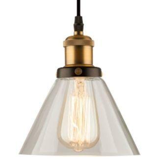 Lampa wisząca New York Loft No. 1 - szklany klosz, mosiądz