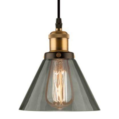szara lampa wisząca industrialna złote detale