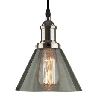 Stylowa lampa wisząca New York Loft No. 1 - dymione szkło