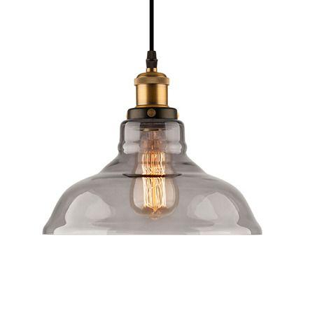 szara lampa wisząca ze szklanym kloszem industrialna