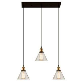Podłużna lampa wisząca New York - szklane klosze, industrialna
