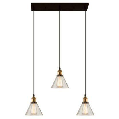 lampa wisząca na trzy szklane klosze