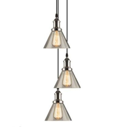 srebrna lampa wisząca industrialna szklane klosze