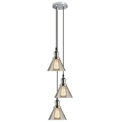 szara lampa wisząca ze szklanymi kloszami