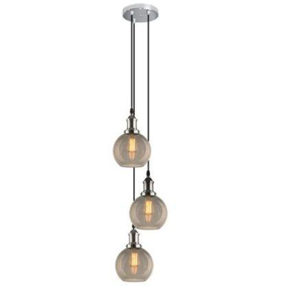 okrągła lampa wisząca na 3 klosze szklana