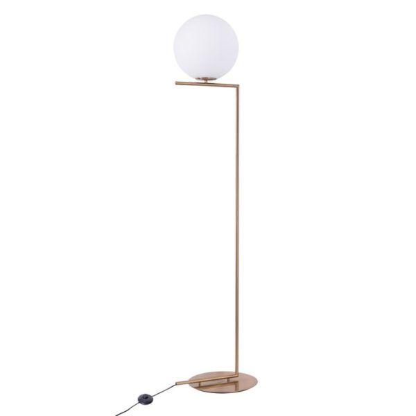 Nowoczesna lampa podłogowa z kloszem kulą Solaris - złota mosiężna
