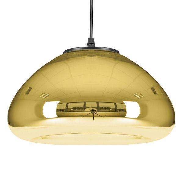 lampa wisząca ze złotym kloszem