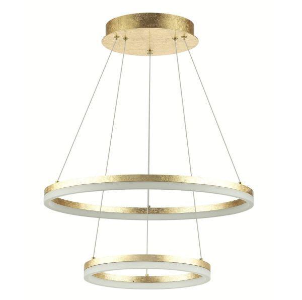 złota podwójna lampa wisząca ring podsufitka