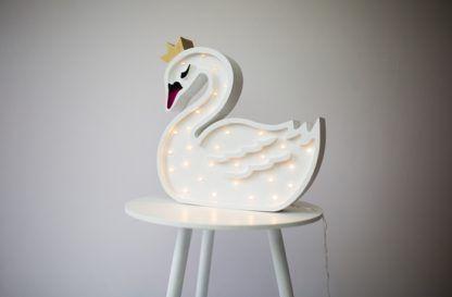 Lampa drewniana dla dzieci do snu Łabędź - LED