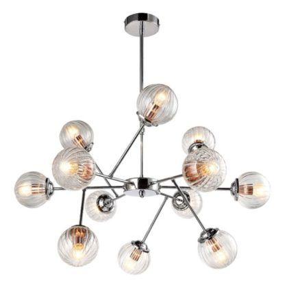 srebrna lampa wisząca małe szklane kule