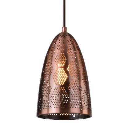 lampa wisząca z miedzianym kloszem perforacje