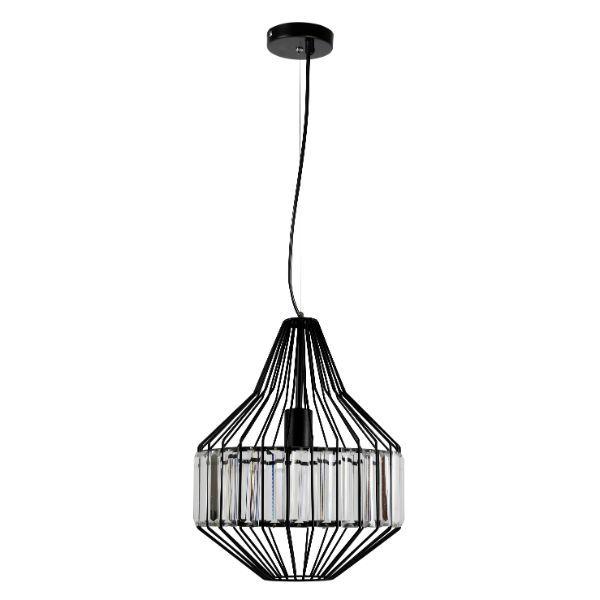 czarna metalowa lampa wisząca ze szklanymi elementami