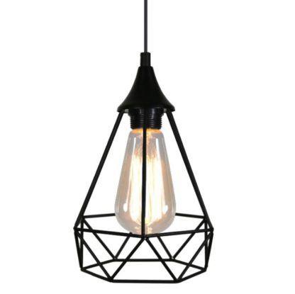 czarna lampa wisząca druciany klosz
