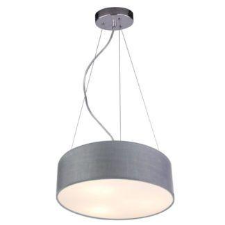 Lampa wisząca Kioto - szary abażur, nowoczesna