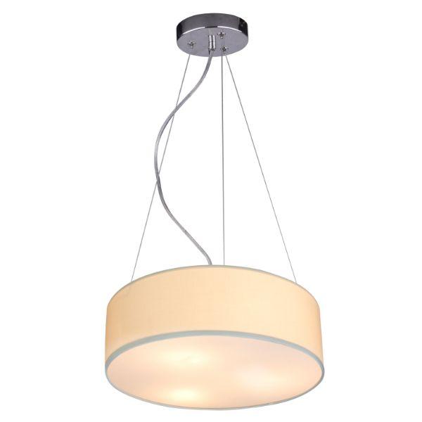beżowa lampa wisząca z abażurem