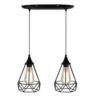 Podwójna lampa wisząca Graf - czarna, druciana