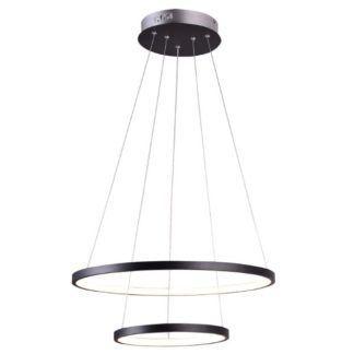 Podwójna lampa wisząca Lune - czarne ringi, LED