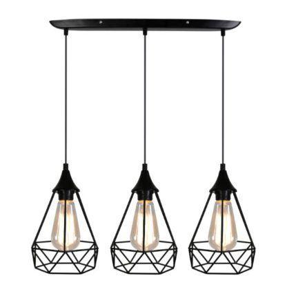 potrójna lampa wisząca czarne druciane klosze