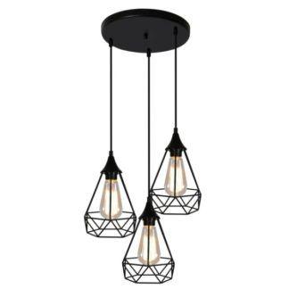 Czarna lampa wisząca Graf - metalowe klosze, ażurowe
