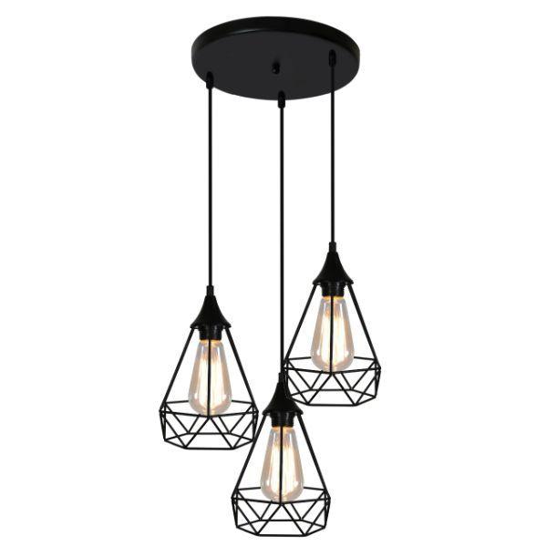 lampa wisząca z drucianymi kloszami nad stół