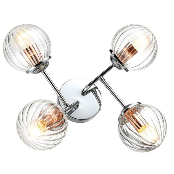 srebrna lampa sufitowa szklane kule