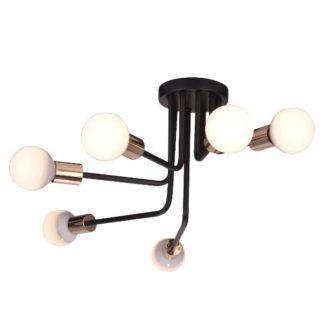 Nowoczesna lampa sufitowa Spill - czarna, złote oprawki