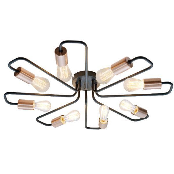 lampa sufitowa ze złotymi oprawkami na żarówki