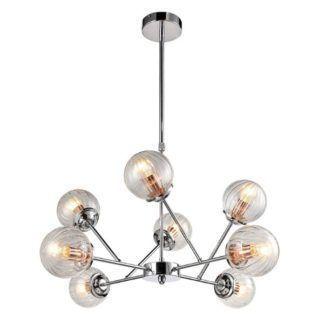 Srebrna lampa wisząca Best - szklane kule, nowoczesna