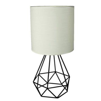 lampa stołowa z białym abażurem i drucianą podstawą