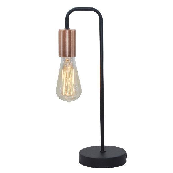 druciana lampa biurkowa czerń i miedź