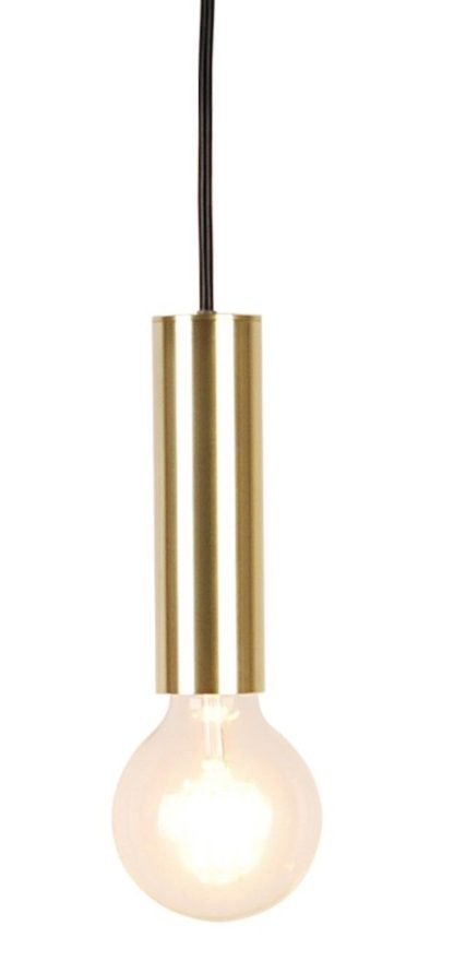 złota lampa wisząca bez klosza