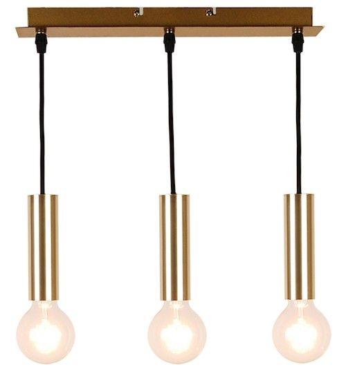 lampa wisząca na 3 żarówki złota