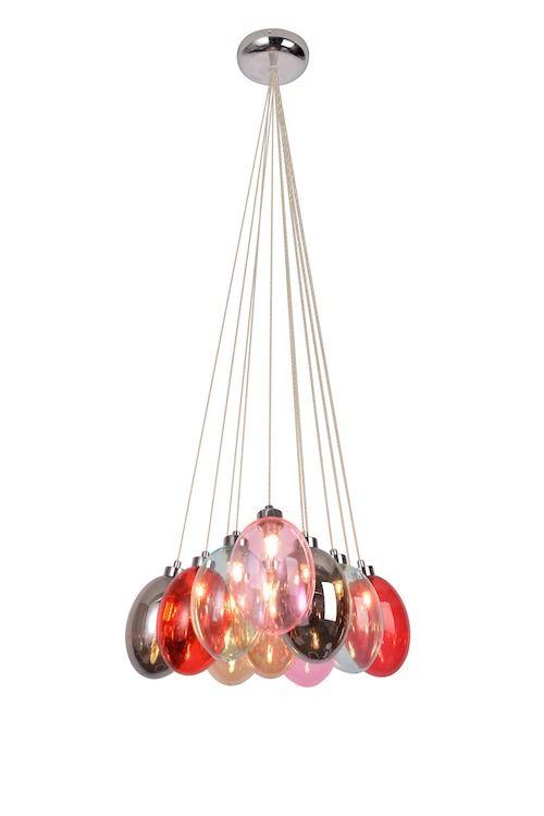 kolorowa lampa wisząca szklana