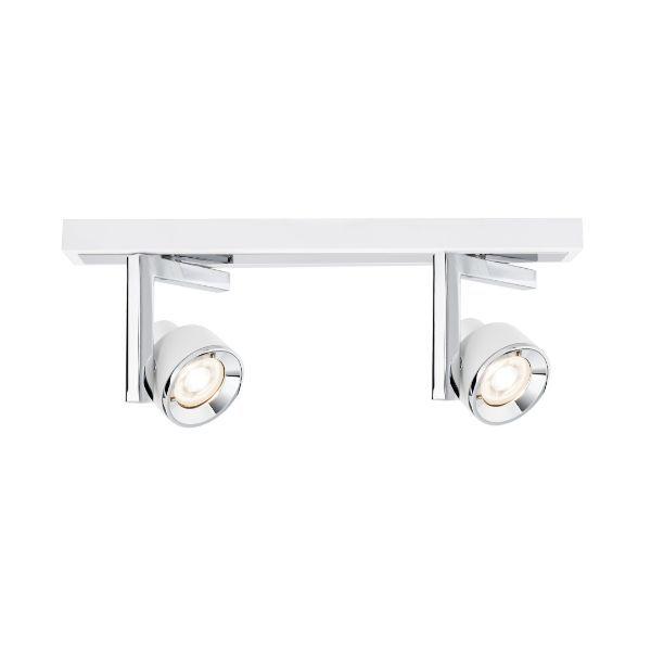 lampa sufitowa z regulowanymi reflektorami biało-srebrna