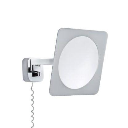 srebrne lustro do łazienki LED