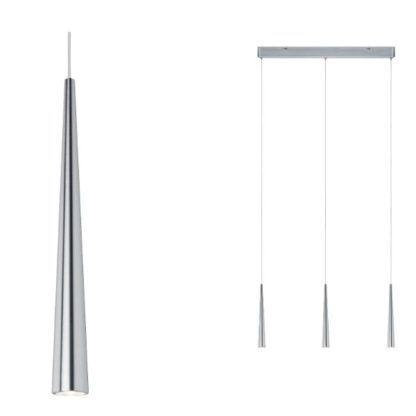 srebrna nowoczesna lampa wisząca nad stół